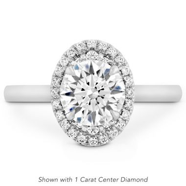 Hearts on Fire 0.13 ctw. Juliette Oval Halo Engagement Ring in 18K White Gold