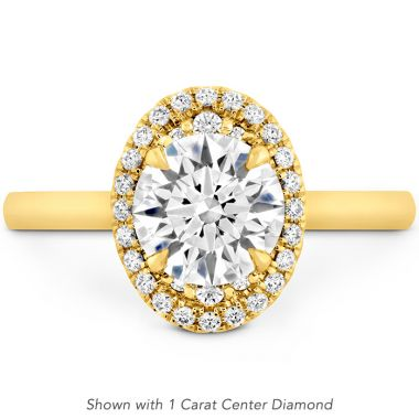 Hearts on Fire 0.14 ctw. Juliette Oval Halo Engagement Ring in 18K Yellow Gold