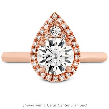 Hearts on Fire 0.1 ctw. Juliette Pear Halo Engagement Ring in 18K Rose Gold