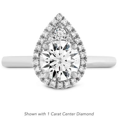 Hearts on Fire 0.1 ctw. Juliette Pear Halo Engagement Ring in Platinum