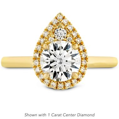 Hearts on Fire 0.08 ctw. Juliette Pear Halo Engagement Ring in 18K Yellow Gold