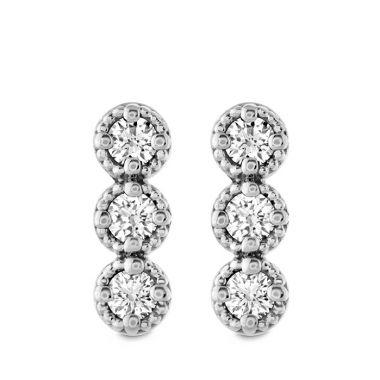Hearts on Fire 0.19 ctw. Liliana Milgrain Diamond Bar Earrings in 18K White Gold