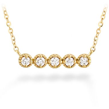 Hearts on Fire 0.17 ctw. Liliana Milgrain Diamond Bar Necklace in 18K Yellow Gold
