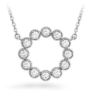 Hearts on Fire 0.38 ctw. Liliana Milgrain Diamond Circle Pendant in 18K Rose Gold