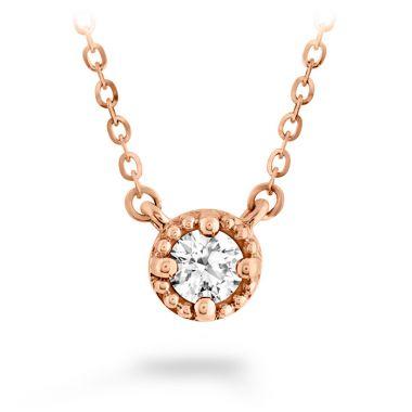 Hearts on Fire 0.13 ctw. Liliana Milgrain Single Diamond Pendant in 18K Rose Gold