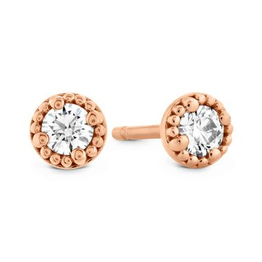Hearts on Fire 0.65 ctw. Liliana Milgrain Single Diamond Stud Earrings in 18K Rose Gold