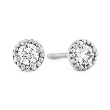 Hearts on Fire 0.25 ctw. Liliana Milgrain Single Diamond Stud Earrings in 18K White Gold