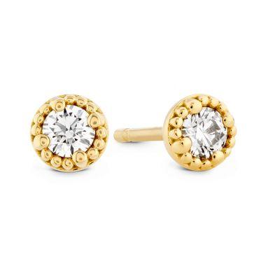 Hearts on Fire 0.45 ctw. Liliana Milgrain Single Diamond Stud Earrings in 18K Yellow Gold