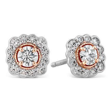 Hearts on Fire 0.56 ctw. Liliana Flower Stud Earrings in 18K Yellow Gold w/Platinum