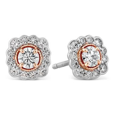 Hearts on Fire 0.56 ctw. Liliana Flower Stud Earrings in 18K Rose Gold w/Platinum