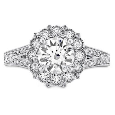 Hearts on Fire 0.54 ctw. Liliana Halo Engagement Ring - Dia Band in Platinum