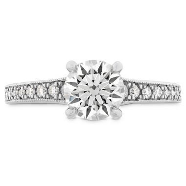 Hearts on Fire 0.32 ctw. Liliana Milgrain Engagement Ring - Dia Band in 18K White Gold