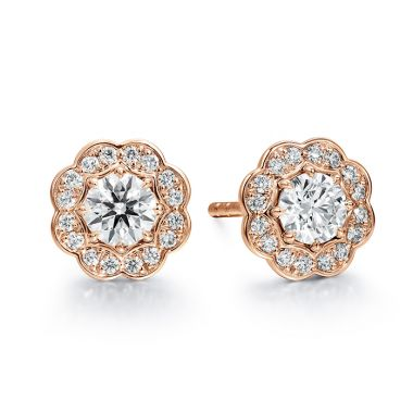 Hearts on Fire 1 ctw. Lorelei Diamond Halo Stud Earrings in 18K Rose Gold