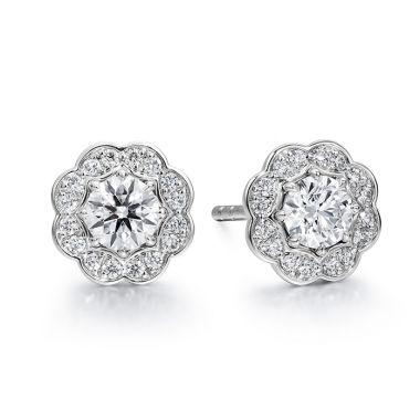 Hearts on Fire 0.5 ctw. Lorelei Diamond Halo Stud Earrings in 18K White Gold
