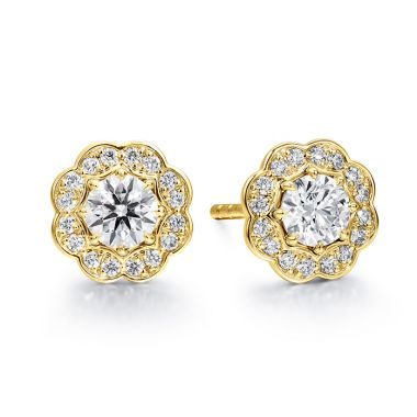 Hearts on Fire 0.5 ctw. Lorelei Diamond Halo Stud Earrings in 18K Yellow Gold