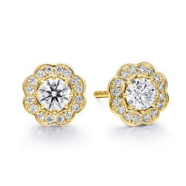 Hearts on Fire 1 ctw. Lorelei Diamond Halo Stud Earrings in 18K Yellow Gold