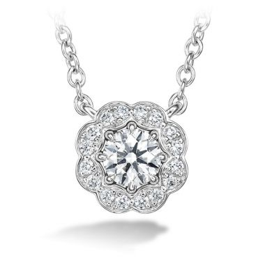 Hearts on Fire 0.5 ctw. Lorelei Diamond Halo Pendant in 18K White Gold