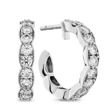 Hearts on Fire 0.8 ctw. Lorelei Floral Hoop Earrings in 18K White Gold