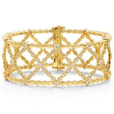 Hearts on Fire 2.45 ctw. Lorelei Lattice Diamond Bangle in 18K Yellow Gold