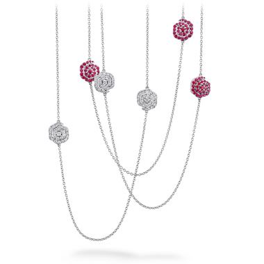 Hearts on Fire 1.88 ctw. Lorelei Diamond and Ruby Floral Station Necklace in 18K White Gold