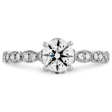 Hearts on Fire 0.15 ctw. Lorelei Floral Engagement Ring-Diamond Band in 18K White Gold