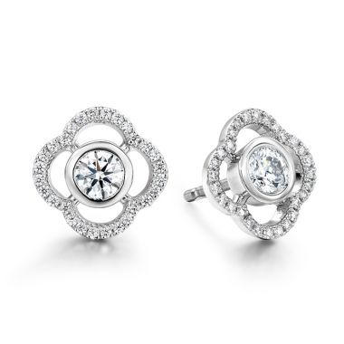 Hearts on Fire 0.56 ctw. Signature Petal Bezel Earrings in 18K White Gold