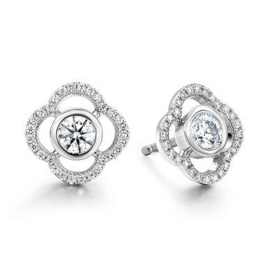 Hearts on Fire 0.56 ctw. Signature Petal Bezel Earrings in Platinum