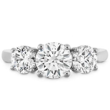 Hearts on Fire 0.75 ctw. Simply Bridal Three Stone Semi-Mount in 18K White Gold