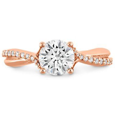 Hearts on Fire 0.1 ctw. Simply Bridal Diamond Twist Semi Mount in 18K Rose Gold