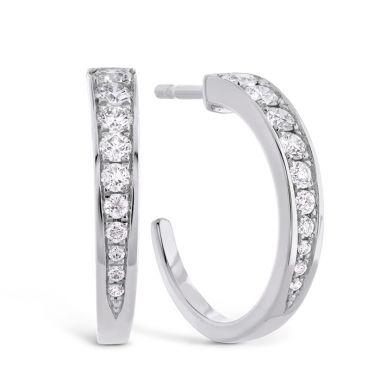 Hearts on Fire 0.4 ctw. Triplicity Small Hoop Earrings in 18K White Gold