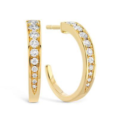 Hearts on Fire 0.4 ctw. Triplicity Small Hoop Earrings in 18K Yellow Gold